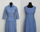 1950s Blue Striped Dress ...