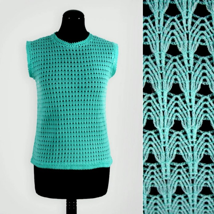 1960s Turquoise Lace Knit...
