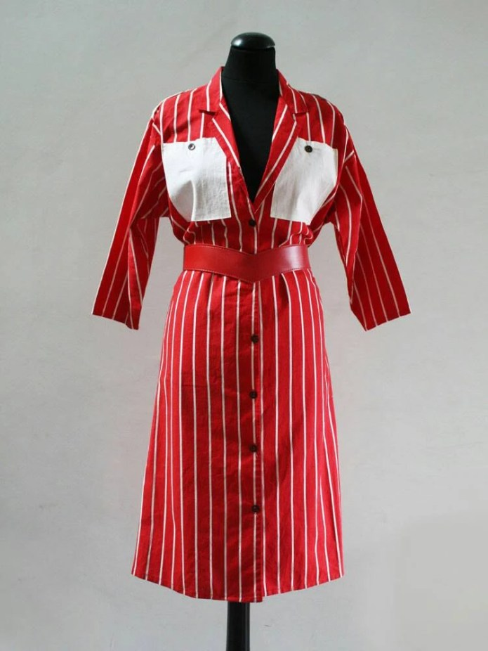 1980s Red And White Strip...