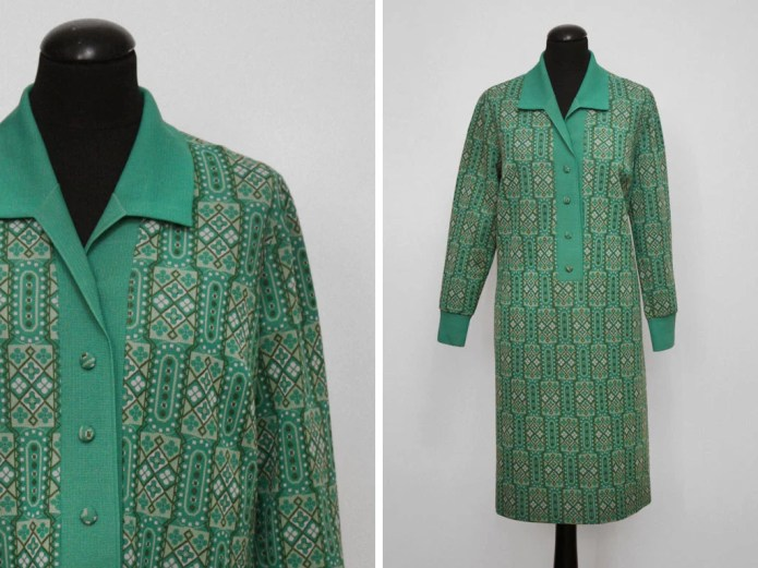 1970s Green Geometric Pat...