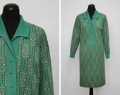 1970s Green Geometric Pat...
