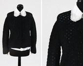C.1960s Black Lace Knit V...