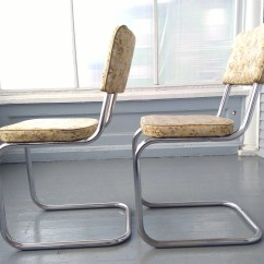 Chrome Kitchen Chairs Wire Shelves Vintage Dinette Retro 50s Metal Vinyl Yellow Rhymeswithdaughter