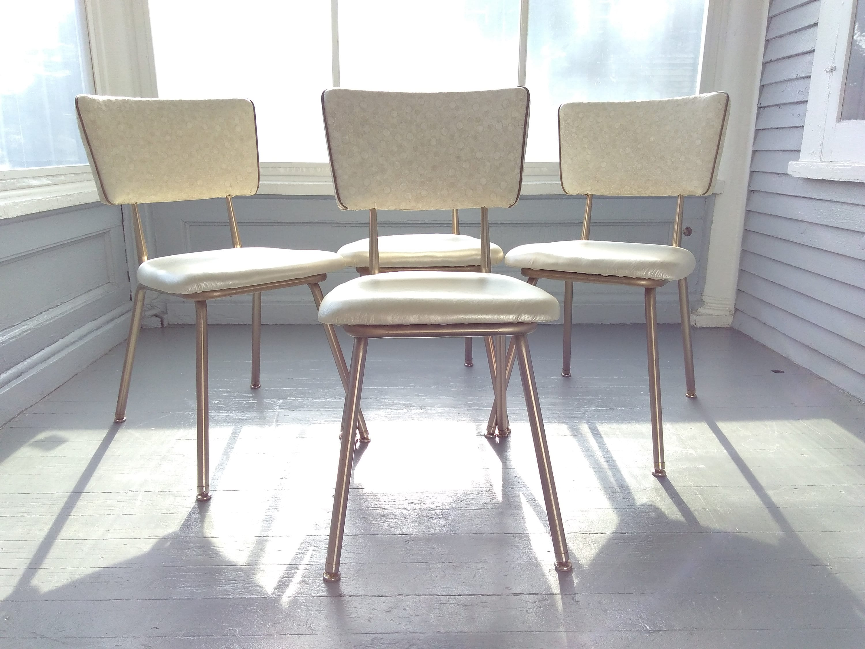 vintage kitchen chairs center island set of four 1960s lloyd mfg co dinette vinyl metal decor rhymeswithdaughter