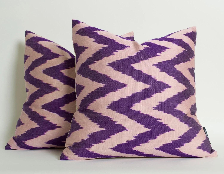 Set Of 2 Purple Chevron Silk Ikat Pillow Cover Decorative