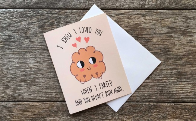 Funny Valentine Card I Love You And Your Farts Greeting