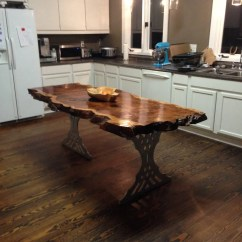 Live Edge Kitchen Table Outdoor Drawers Island Etsy Slab Wood