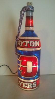 Dayton Flyers Inspired Wine Bottle Lamp Hand Painted