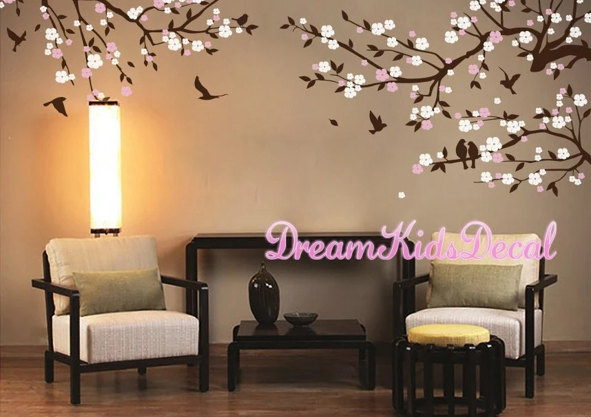wall stickers living room cheap furniture for sale cherry blossom decal etsy blossoms nursery decals sticker flower dk211