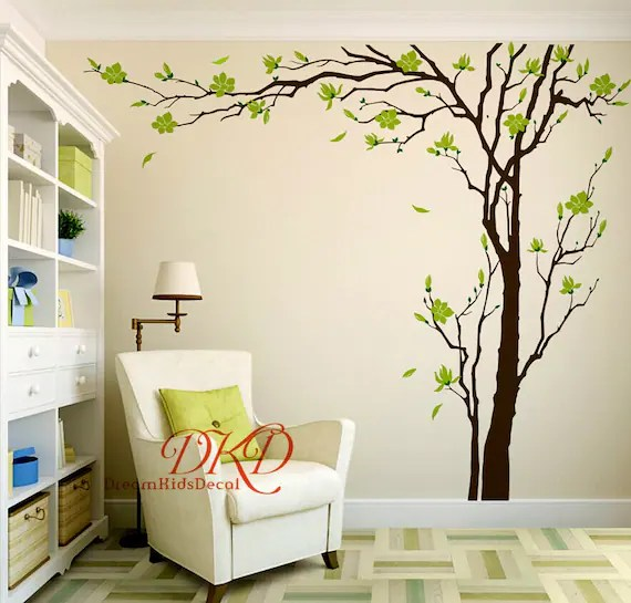 living room tree grey blue yellow ideas cherry blossom wall decals sticker etsy image 0