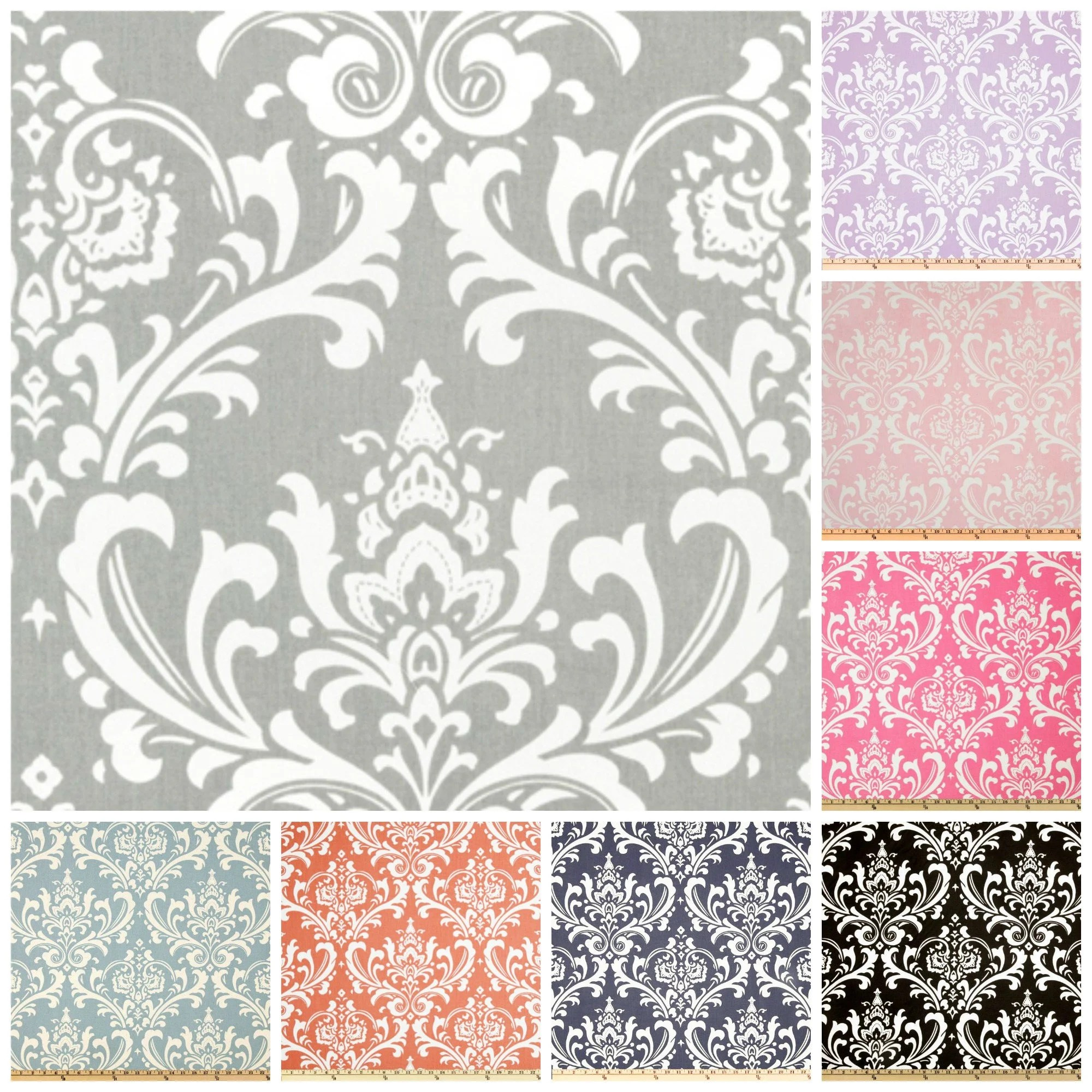 Damask Fabric And Bolt White Black