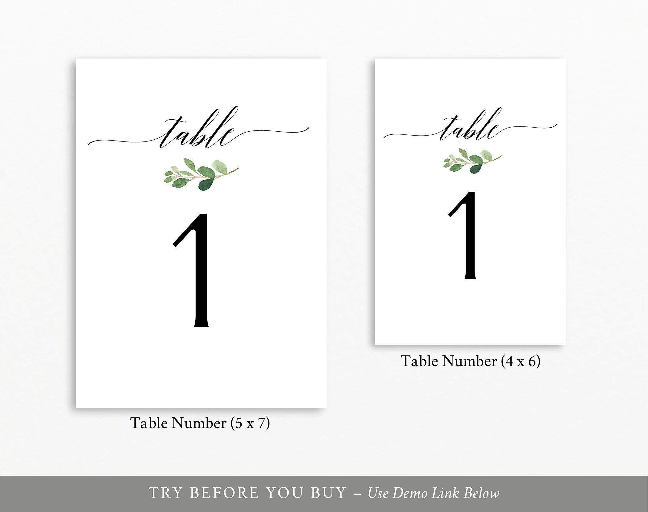 Greenery Table Number Template, TRY BEFORE You BUY, 100%
