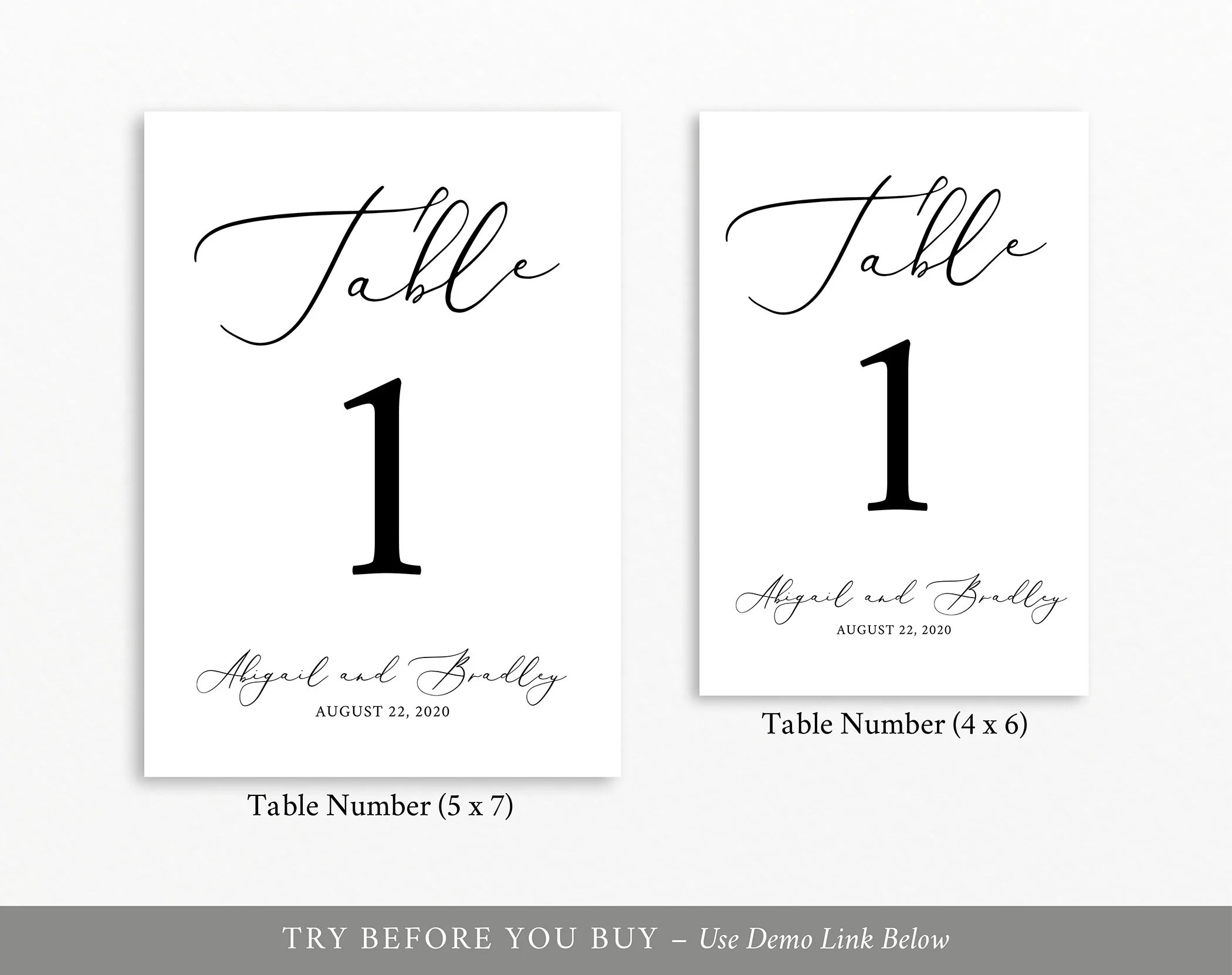 Table Number Template, 100% Editable Template, TRY BEFORE