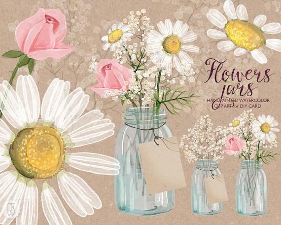watercolor chamomile mason jar
