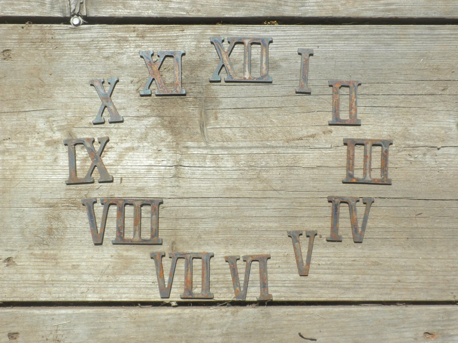 2 Inch Roman Numerals Numbers Clock Set 1 12 Rusty Vintage