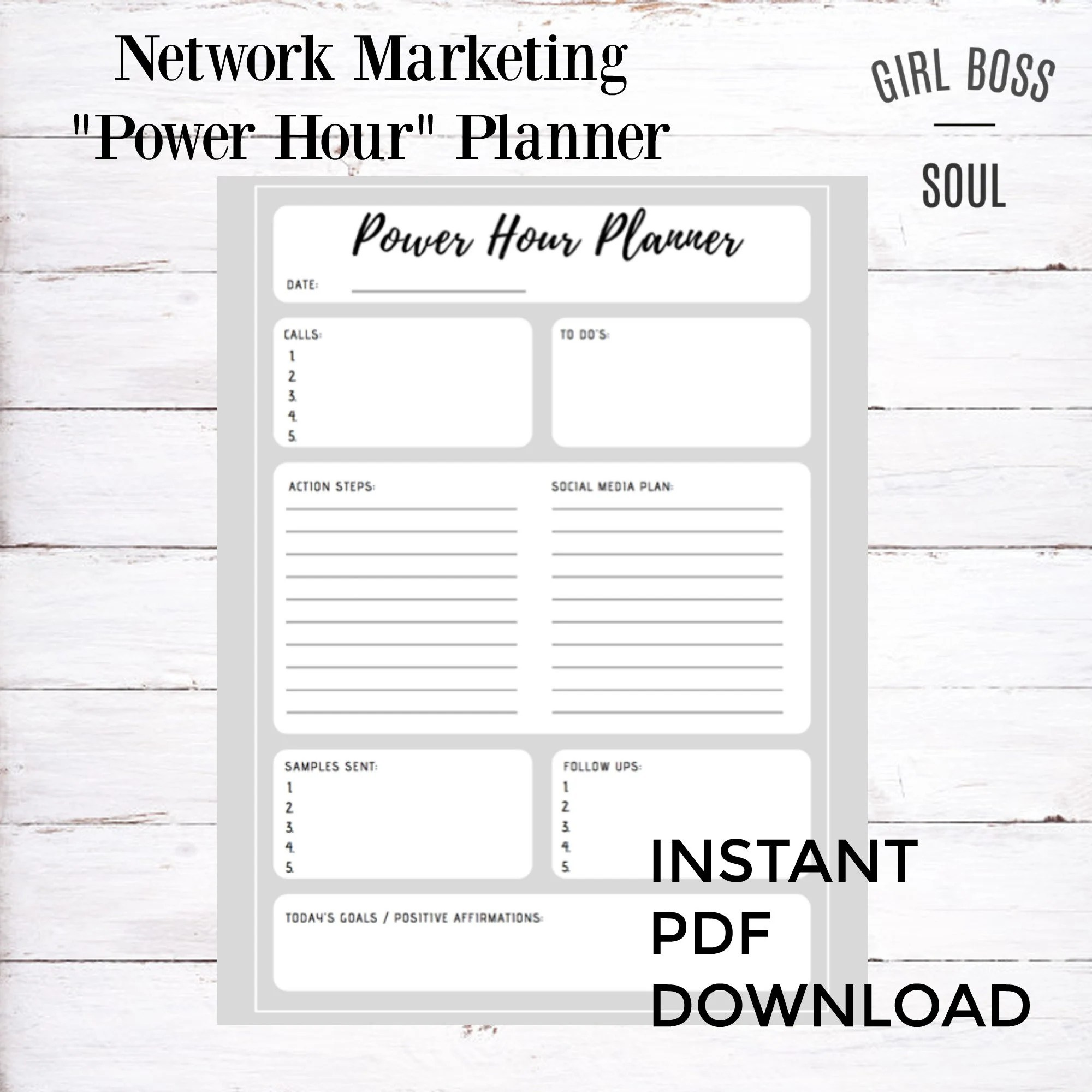 Power Hour Planner for Network Marketers MLM Goal Planner