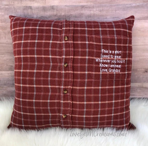 memory pillow insert and embroidery message keepsake pillow made out of loved ones clothes memorial pillow shirt pillow memorial gift