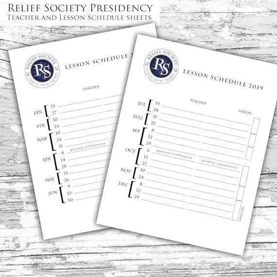 2019 LDS Relief Society Teacher and Lesson schedule