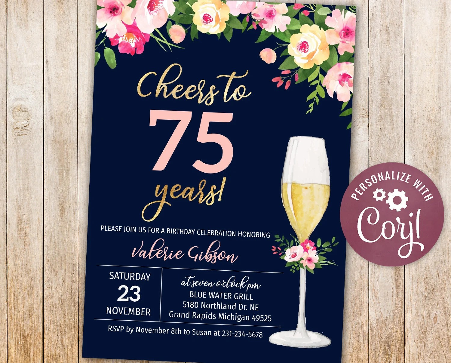 75th birthday invitations cheers to 75 years birthday party invite floral digital instant download 5x7 editable adult woman womens