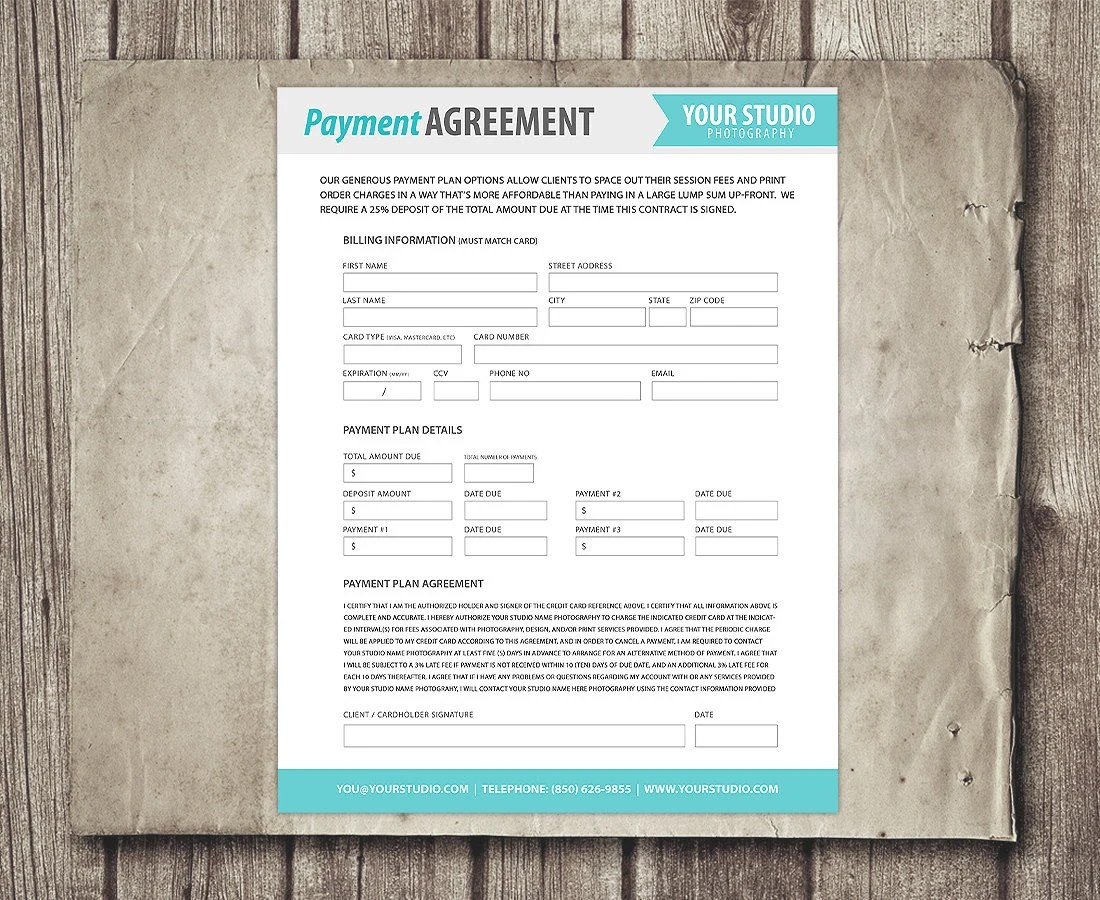 Payment Plan Template Photography Financial Contract