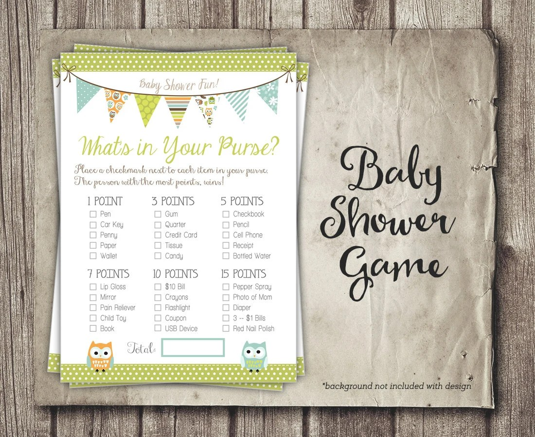 Owl Baby Shower Game Printable Whats In Your Purse Neutral