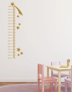 Shooting stars growth chart for children wall sticker height decal star stickers art transfers gc also plain etsy rh