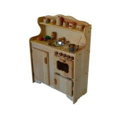 Wooden Play Kitchen Arts And Crafts Cabinets Waldorf Child S Toy Montessori Toys Food Pretend Image 0