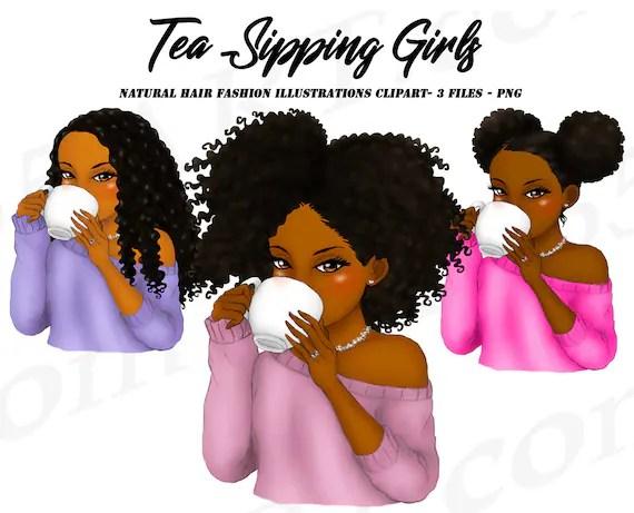 Tea Sipping Girls Clipart Black Girl Black Women Natural Hair