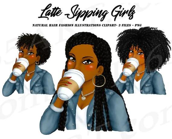 Latte Girls Clipart Black Girl Black Women African American