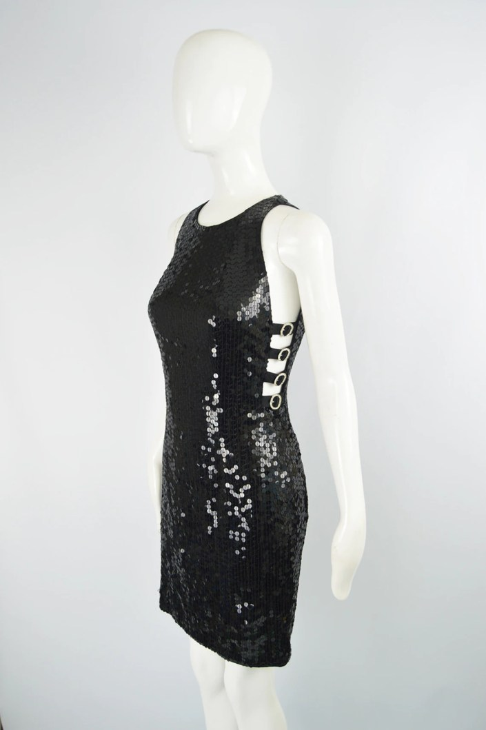 80s Black Sequin Dress Cocktail Party Cut Out Dress Beaded image 2