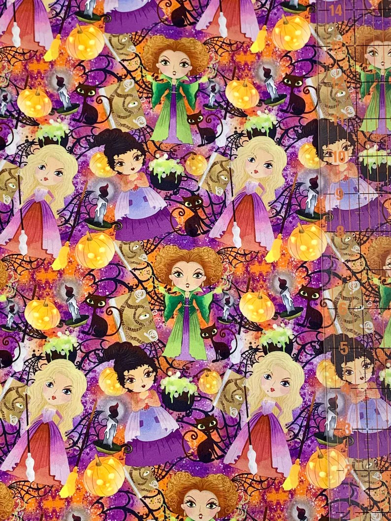 Hocus Pocus Inspired Custom Fabric Tumbler Cut Small Scale Mask Cuts Sanderson Sisters Disney Witches 9x14 inch 100/% Cotton Woven