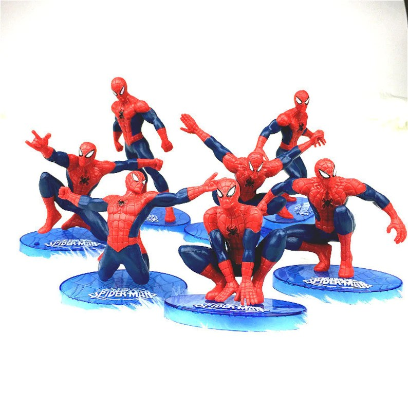 Cake Topper 7 Pcs Spiderman Figure Set Custom Wedding Etsy