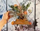 Keepsake Wedding Frame / Pressed Floral Art / Personalized Wedding Art / Wedding Date Art / Modern floral art / Engraved Anniversary Gift