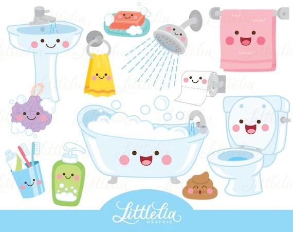 Bathroom Kawaii Clipart Bathroom Clipart 17049 Etsy