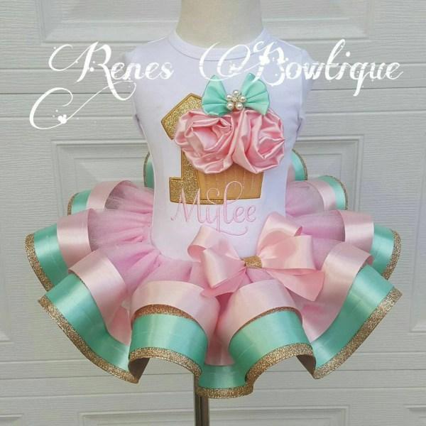 Pink Aqua And Gold Cupcake Ribbon Tutu Set