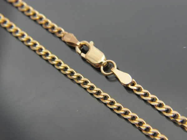 Solid 10k Gold Curb Chain Necklace 2.5mm