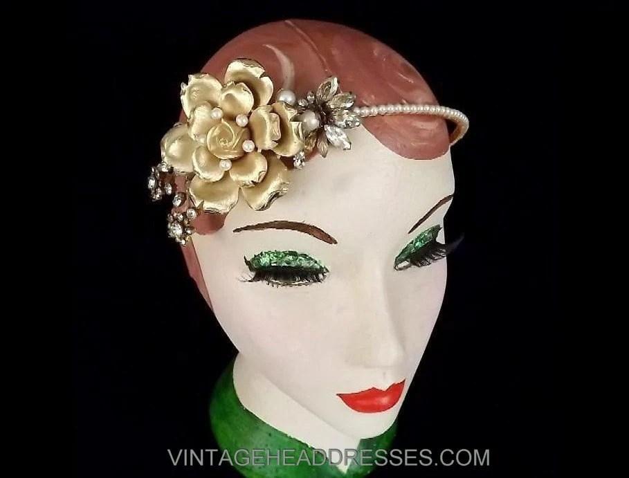 Vintage Bridal Headpiece Floral Gold Headband Flower