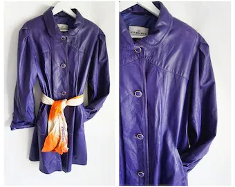 purple leather coat etsy