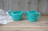 Shabby Chic Sugar Bowl and Creamer Turquoise Blue Hand | Etsy