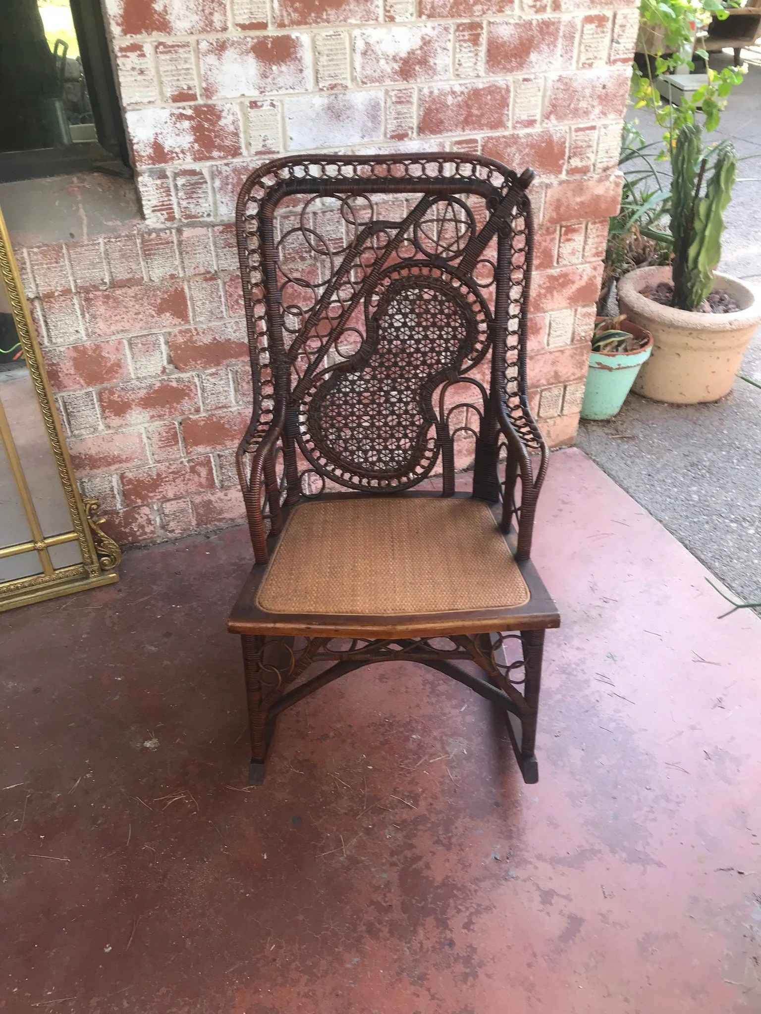 guitar shaped chair on workout very rare antique 19th century lacy wicker fiddle etsy image 0
