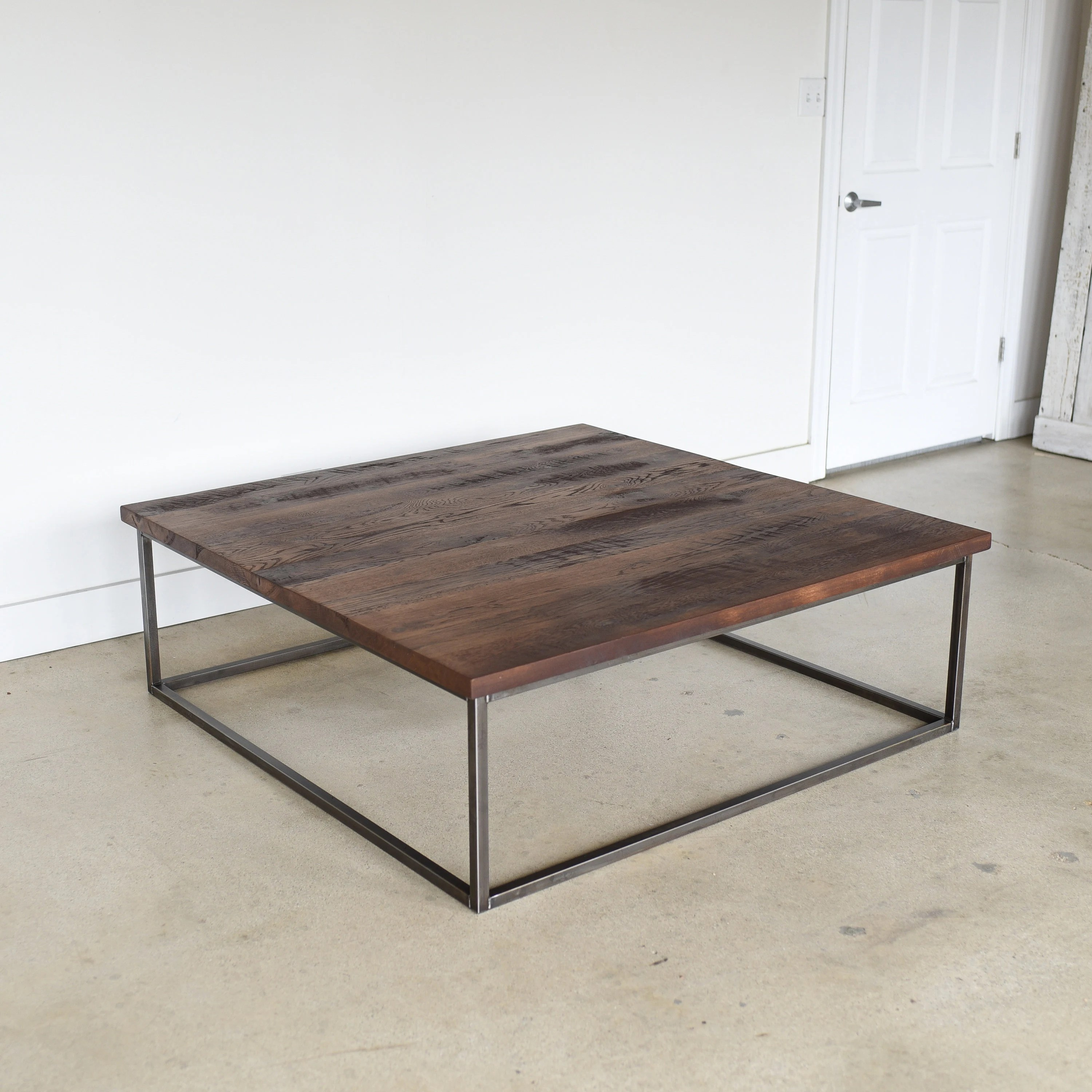 square coffee table large reclaimed wood steel box frame coffee table