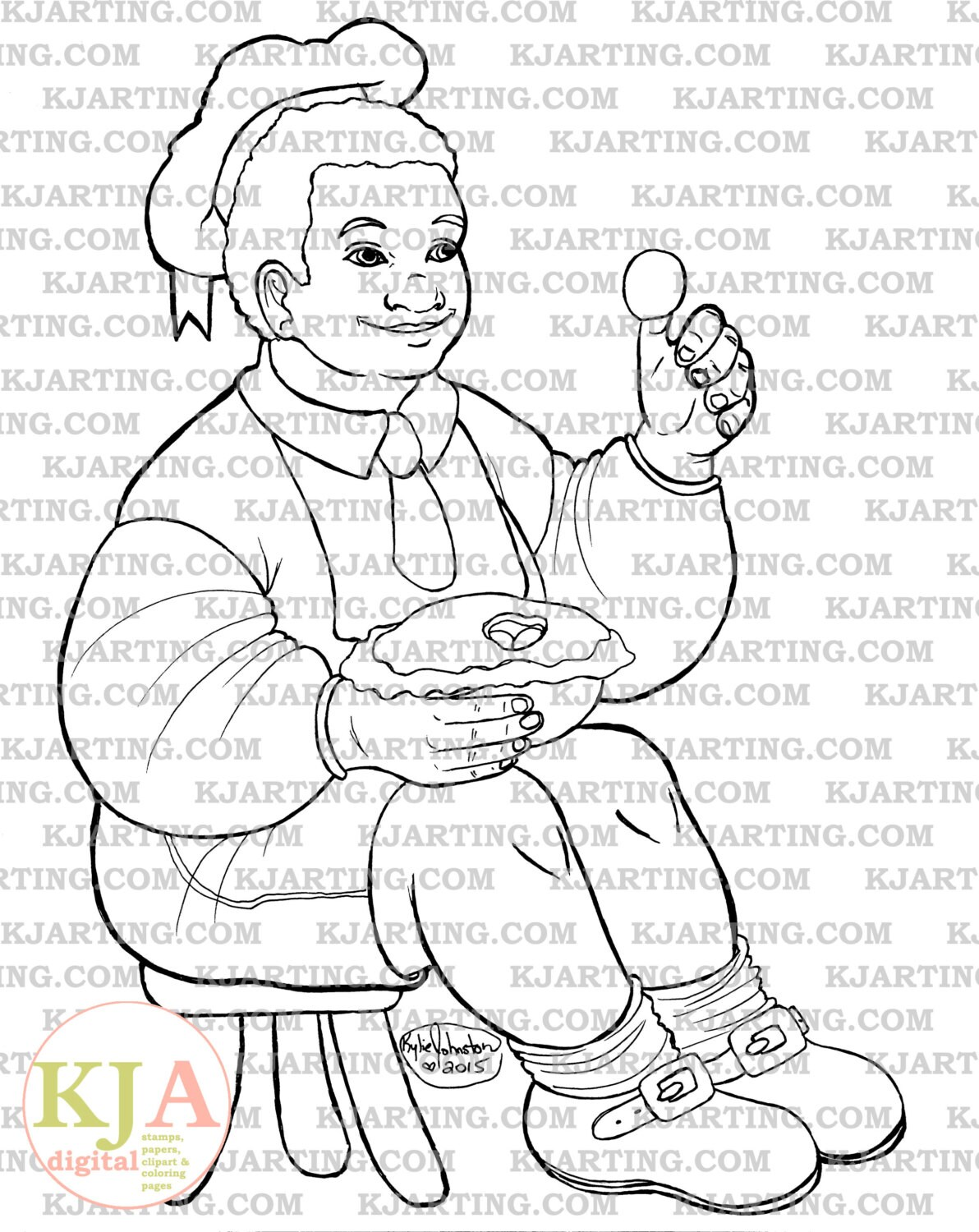 Little Jack Horner Coloring Page Line Art Printable