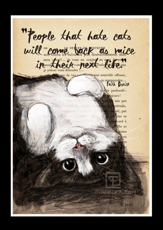 Set of 2 Quote Print A4 Cat Illustration-Art Print-Cat image 3