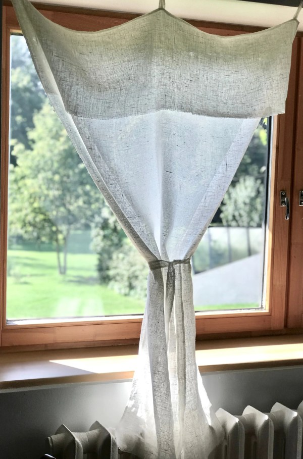 Linen Tab Top Curtain White Panel With Tie