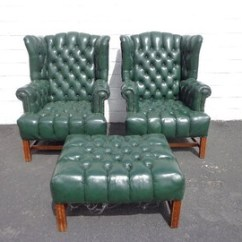 Leather Wingback Chairs South Africa Dining Table And Chair Set Uk Etsy 3pc Handsome Deep Tufted Armchairs Seating Vintage Chesterfield Chippendale Lounge Mid Century Modern English Wing