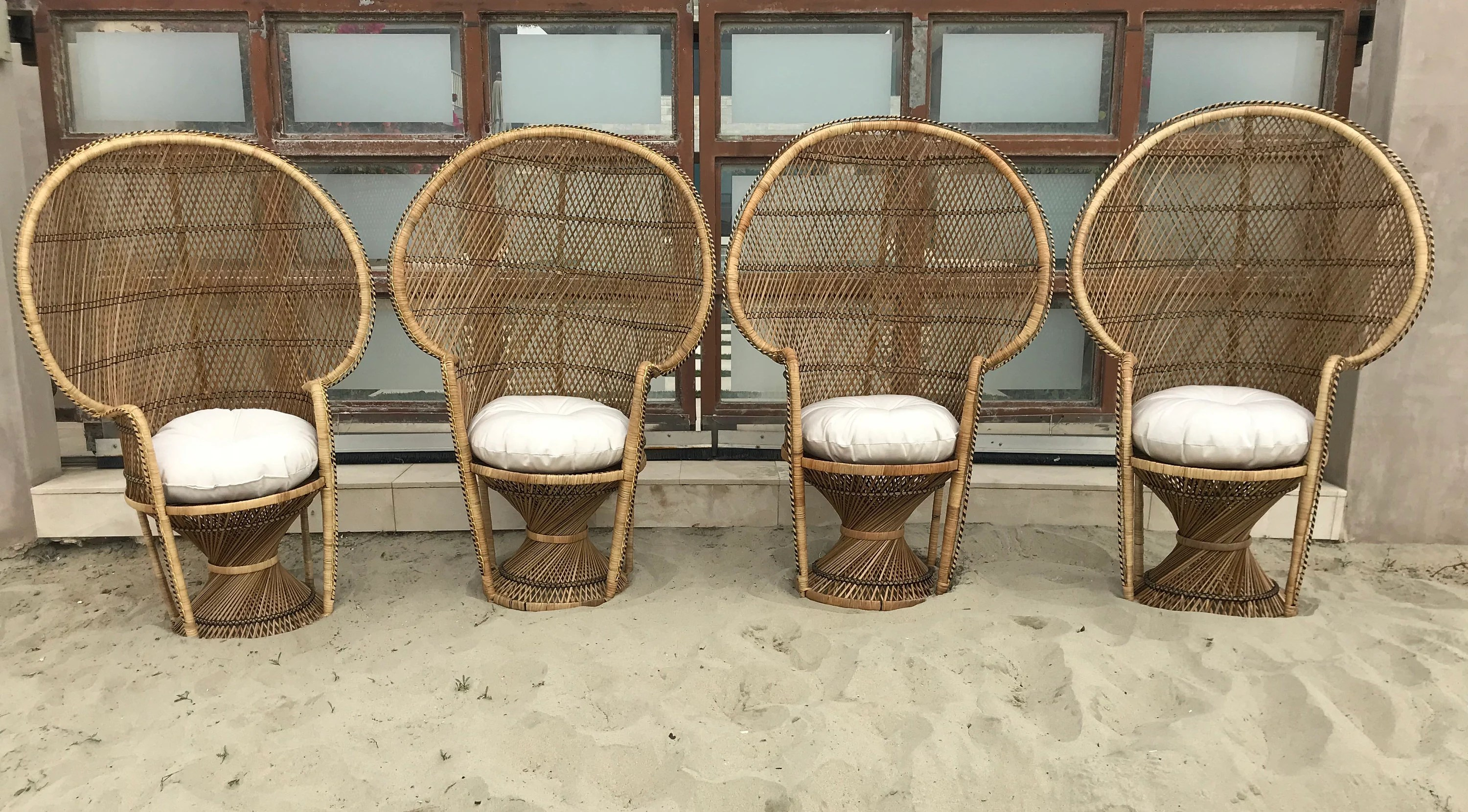 where to buy wicker chairs red velvet desk chair rattan etsy peacock emmanuelle bohemian boho chic fan armchair chippendale chinoiserie bamboo miami mid century bentwood
