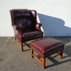 Oxblood Leather Wing Chair Sheepskin Covers Canada Handsome Tufted Wingback Armchair Matching Etsy Image 0