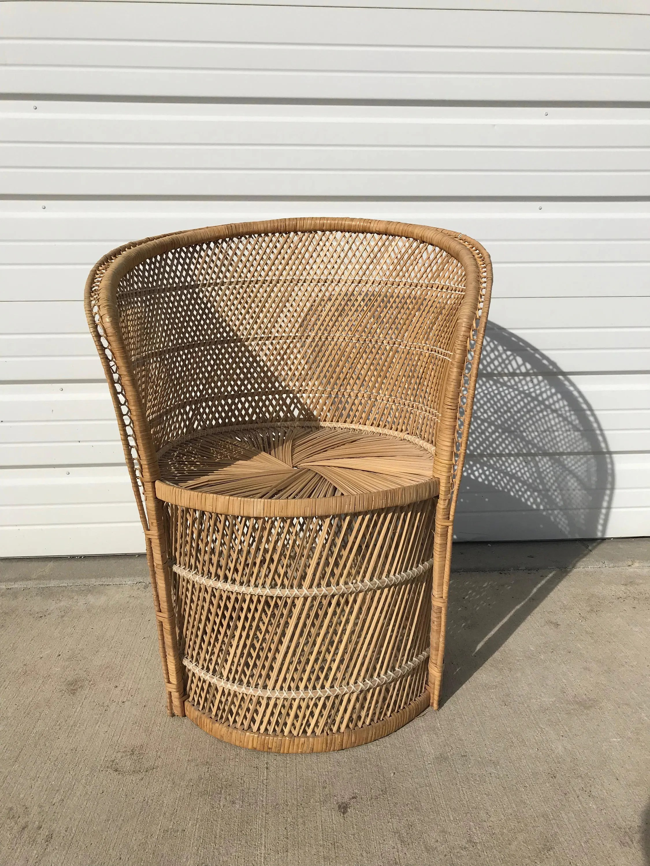 Rattan Accent Chair Vintage Rattan Chair Boho Chic Peacock Chair Fan Regency