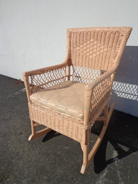 Wicker Rocking Chair Rocking Chair Antique Woven Wicker Rocker Armchair Glider Seating Pink Rattan Shabby Chic Coastal Country French Midcentury Chair Nursery