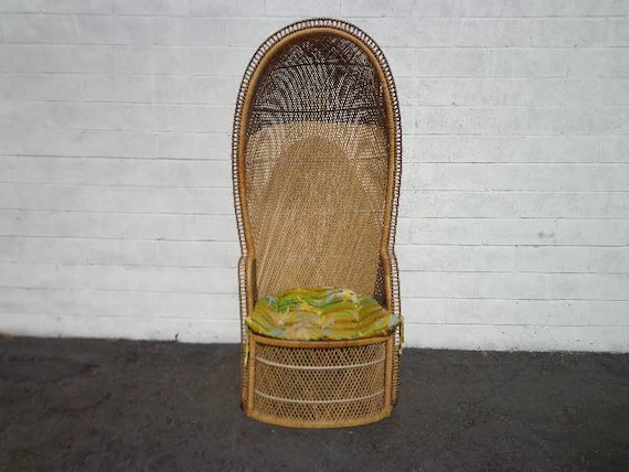 vintage peacock chair reupholster dining room dome canopy porter fan bohemian boho etsy image 0